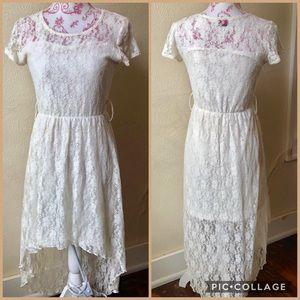 Urban Rose High-Low Hem White Lace Dress S cadf5dd56